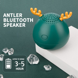 Cute Antlers Speakers Bluetooth Speaker Christmas Gift Mini Wireless Speaker TF Card USB Subwoofer Portable MP3 Music 40mm