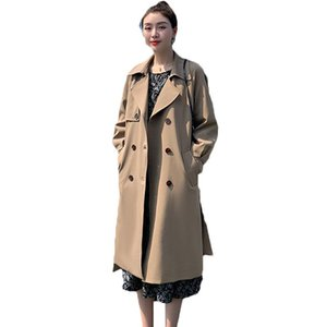 2021 Spring Autumn Long Trench Coats For Women Casual long sleeve Double breasted Windbreaker Female Overcoats 73B