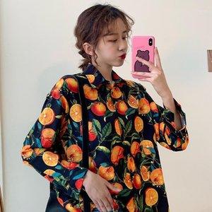 Women's Shirts Ulzzang Japanese Kawaii Ladies Vintage Loose Lazy Orange Print Shirt Female Korean Harajuku Clothes For Women1