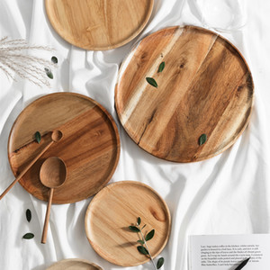 Whole Wood Lovesickness Wood Solid Wooden Pan Plate Fruit Dishes Saucer Tea Tray Dessert Dinner Plate Round Shape Tableware Set C1004