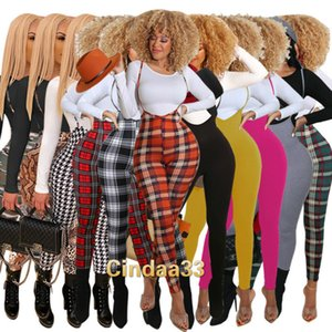 Women Tracksuits Two Pieces Set Designer Slim Sexy Fit Leopard Camouflage Plaid Pants Long Sleeve Top And Sling Jumpsuit Nightclub Suits