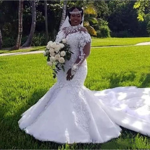 Luxury Africa Plus Size Mermaid Wedding Dresses 2021 High Neck Long Sleeves Appliques Lace Crystals Bridal Wedding Gowns Vestidos De Noiva