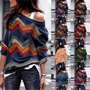 Tees Womens Designer Printed Knit Tshirt Geometric Patterns Fashion Strapless Shoulder Long Sleeve Casual Spring Loose