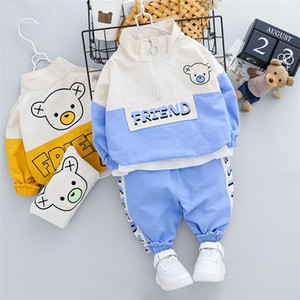 New Infant Boys Girl Casual Fashion Clothing Set Outfit 1 2 3 4 Years Cartoon Letter Bear T-Shirt and Jeans Kids Boy Costume 0927