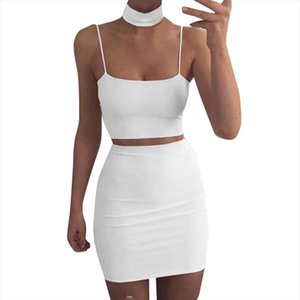 white Sexy Womens Solid Two Piece Set Summer Sleeveless Crop Top and Skirts Waist Bodycon Suit Set conjuntos femininos@35