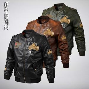 Vaguelette Мужская Pu Кожа мотоцикла ретро Military вскользь Leahter куртка ветровка Chaqueta Cuero Hombre Plus Size