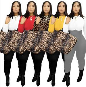 Kadınlar Romper Tasarımcı Giyim Moda Uzun Kollu Yuvarlak Yaka Leopard Baskı Çok Renkli Jumpsuit Tek Parça Pantolon bodysuit Genel F110601