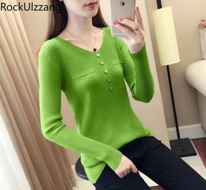 Korean Women Long Sleeve Fall Pullover Sweater Knit Top Fashion Cute Slim Candy Solid Color Stitch Button Knitted Pull Basic Tee