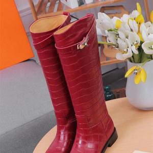 Patrón de cuero de vaca Liujingang8 Piedra zapatos largos 307613 Rojo Marrón Mujeres bota de montar botas de lluvia botines zapatillas de tacones altos de las bombas de Lolita vestido