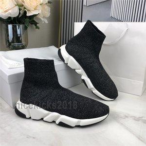 İyi Rahatlık Erkekler Kadınlar Günlük Ayakkabılar Çorap Ayakkabı HIZ Spor Örme Stretch Sneakers Hız Eğitmen Scarpe yarışı Kutusu Chaussures Siyah Oreo