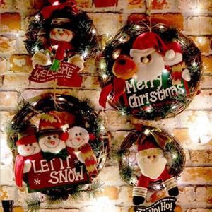 Рождественский венок Рождественский Rattan двери платяной Снежный человек Санта Rattan Garland Vine кольцо стены цветок Гирлянда украшения Xmas Морские перевозки DWC1517