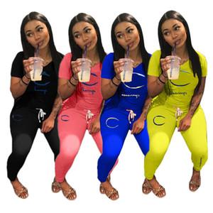 Embriodery Lettera tuta donne Outfits CHAMP breve maglietta del manicotto + ghette a due pezzi Autunno sportivo Sport Clothes Suit