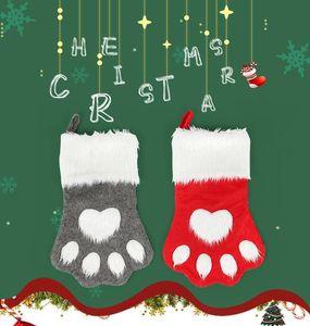 2020 Christmas Stocking Animal Hanging Socks Tree Ornament Decor Hosiery plush Xmas Dog Cat Paw christmas ornaments kdis Gift Candy Ba