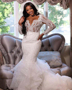 High Collar Mermaid Wedding Dresses Plus Size 2021 South African Lace Illusion Top Ruffles Sweep Train Bridal Gowns Backless robe de mairee