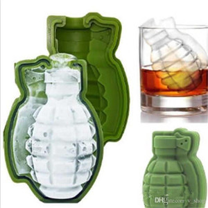 Hot 3D Grenade Shape Ice Cube Mold Creative Ice Cream Maker Party Drinks Silicone Trays Molds Kitchen Bar Tool Mens Gift