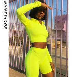 Hot boofeenaa Fashion Neon Green Pink Tracksuit Women Two Piece Set Top and Pants Sweat Suits Biker Shorts Joggers Sets C87-ce24