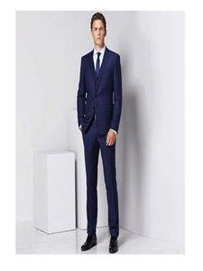 Men's fashion solid color suit three-piece suit (jacket + pants + vest) wedding groom groomsmen dress men's business dress