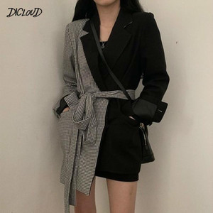 Женские костюмы Blazers Harajuku Нерегулярные женщины Blazer Office дамы ремень костюм куртка плюсы лоскутное пальто вагулярные блазер Femme 2021