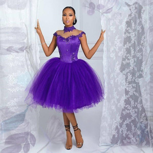 2021 Short Puffy Tulle Prom Dresses Sheer Capped Sleeves Beaded Applique High Collar Bride Party Homecoming Vestidos