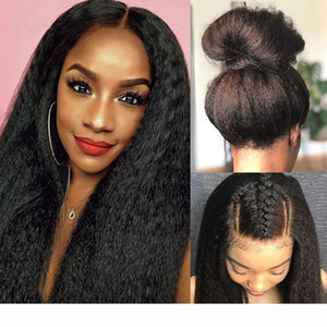 Kinky Straight Human Hair Full Lace Wig For Black Women Pre Plucked Italian Yaki Lace Front Wigs With Baby Hair