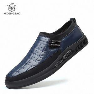 Nidengbao Moda Mocasines Hombres Zapatos Zapatillas De Zapatillas De Zapatillas De Cuero De Los Hombres Slips Slip On Designer Zapatos Hombre Calzado Casual # RA5T