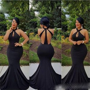 Sexy Black Keyhole Halter Neck Mermiad Prom Dresses 2021 Sleeveless Backless Evening Prom Gowns Plus Size Afircan Girls Party Dress AL8458