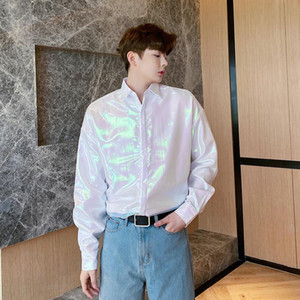 Male Nightclub Stage Show Loose Shirts Men Dazzling Double Layer Organza Sunscreen Long Sleeve Casual Shirt