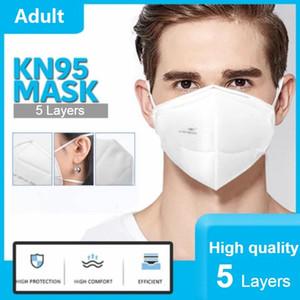 2021 Navio grátis KN95 FFP2 Face Máscara de pó da máscara com respirador descartável 5-camada Pacote branco PM2.5 Filtro anti-poeira à prova de poeira 95%