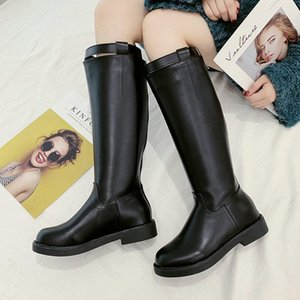 Nice New Rain Knee High Black Boots Women Autumn Western Style Buckle Shoes Woman Flat Heels Mature Female Career Dress Boot
