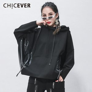 CHICEVER Patchwork Sweatshirt For Women Hooded Collar Batwing Sleeve Zipper Lace Up Oversized Sweatshirts Female 2020 New Style