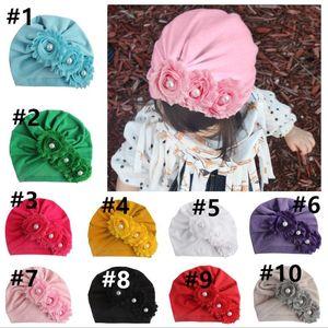 10 Colour Newborn Toddler Kids Baby Girls Pearl Three Flower Cotton Beanie Hat Winter Cap Sweet Solid Cute Lovely Warm Soft