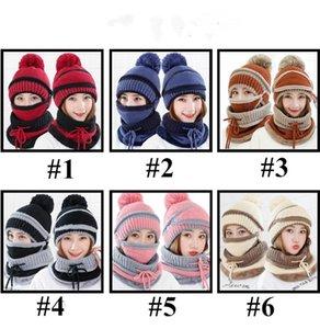Winter Beanie sombrero de la bufanda y la máscara de Cap Set 3 Piezas punto Hat grueso cuello de punto esquilado sombreros Warm bufandas Skullies Gorros de esquí Cap E110602