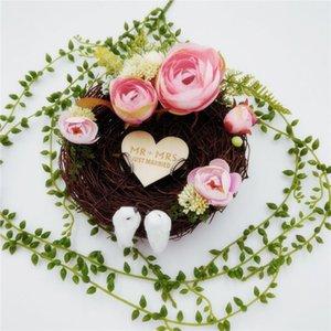 El yapımı Kuş Yuva Alyans Yastık Orman Tarzı Romantik Pembe Kamelya Çiçek Dekorasyon Yüzük Tutucu Düğün için 15 cm