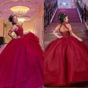 Setwell Halter Neck Ball Gown Quinceanera Dresses Sleeveless Sexy Backless Sequins Beaded Floor Length Prom Party Gowns