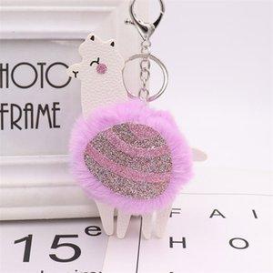 ALPACA POM Keyring Sequins Кожаная ключевая цепь Поддельный меховой брелок Симпатичный мультфильм Животное брелок Bag Bag Bag Congant Gift CCA3066