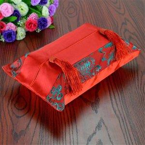 Китайский стиль Brocade Tissue Box Салфетка держатель Silk Cotton Лоскутная кисточкой Роскошные ткани Коробки Держатели для автомобилей Коробки