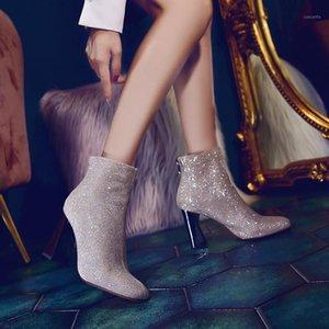 Net Celebrity Boots 2020 Nova Versão Coreana do Toe Quarte Hot Diamond High Leel Spring e Outono All-Match1