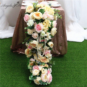 Luxury Wedding Table Runner Silk Artificial Flower Arrangement Decoration Dining Table Road Guide Wedding Party Props Flwoer Row