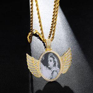 Gümüş Altın Custom Made Fotoğraf Kanatlı Madalyonlar Ile Kolye Kolye Kübik Zirkon Erkekler Hiphop Takı Açabilirsiniz