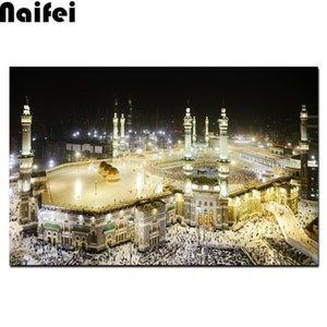 Diamante diy pintura islâmica paisagem sagrada Diamante bordados Arquitetura religiosa Mesquita Muçulmana ponto da cruz da pintura mosaico