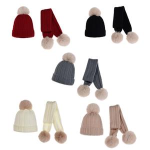 Kinder Wollmütze Schal 2 Stück Set-Winter-warme Mütze Kinder-Baby-Mädchen-Pelz-Pom Poms weichen Hut Schal TD469