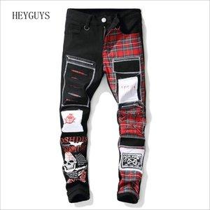 Nagri Новый мужской череп напечатанный шотландский плед лоскутные джинсы модные патчи дизайн черных разорвал проблемные джинсовые длинные брюки 201120