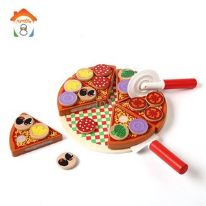 Pizza Wooden Toys Food Cooking Simulation Tableware Children Kitchen Pretend Play Toy Fruit Vegetable with Tableware LJ201009