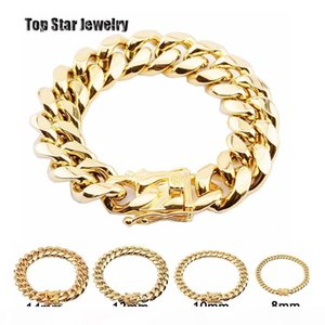 8mm 10mm 12mm 14mm 16mm 18mm Stainless Steel Bracelets 18K Gold Plated High Polished Miami Cuban Link Men Punk Curb Chain Butterfly Clasp