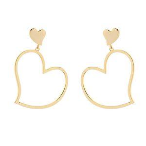 Kiss Me Gold Color Newest Irregular Heart Pendant Drop Earrings For Women&Girls Korean Simple Style Earrings Fashion Jewelry