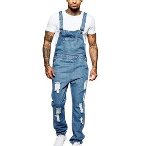VERTVIE Denim Overalls Männer One Piece Ganzkörper zerrissene Jeans-Mann-beiläufige Jeans-Hosen Gerade Pantalon Homme Bottoms