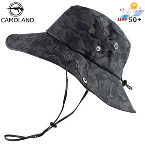 UPF 50+ Bucket Hat Men Women Bob Boonie Hat Summer UV Protection Camouflage Cap Military Army Hiking Tactical Outdoor Sun Hat 201027