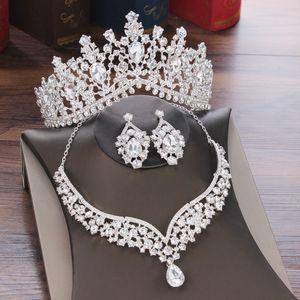Baroque Crystal Water Drop Bridal Jewelry Sets Rhinestone Tiaras Crown Necklace Earrings for Bride Wedding Dubai Jewelry Set