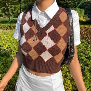 Yiciya brown argyle винтаж y2k подрезанный свитер жилет осенью без рукавов вязаный бак верхняя пуловер preppy стиль случайный клетчатый трикотаж y201128