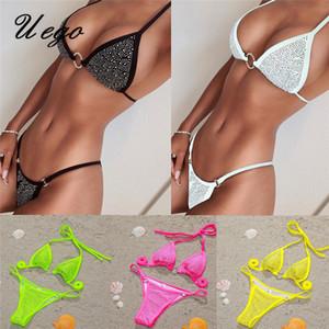 Uego Bling Bling Crystal Diamond Sexy Micro Bikini Set Halter Ring Bandage Women Swimwear Thong Bikini Lady Beachwear Swimsuit 1004